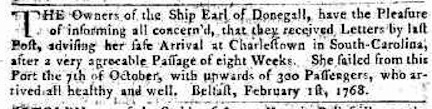 Belfast Newsletter 2 Feb 1768 Earl Arrival