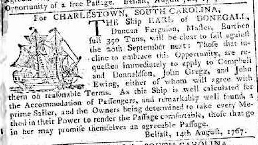 Belfast Newsletter, 4 Sept 1767 Earl Announcement