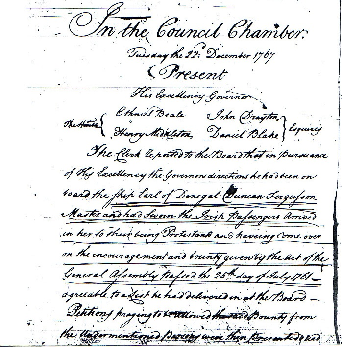 Dinsmore, David, South Carolina Council Journal, 1767, p312