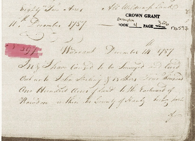 Hants Co 1787 Crown Land warrant 14 Dec Bk4 pp326-7