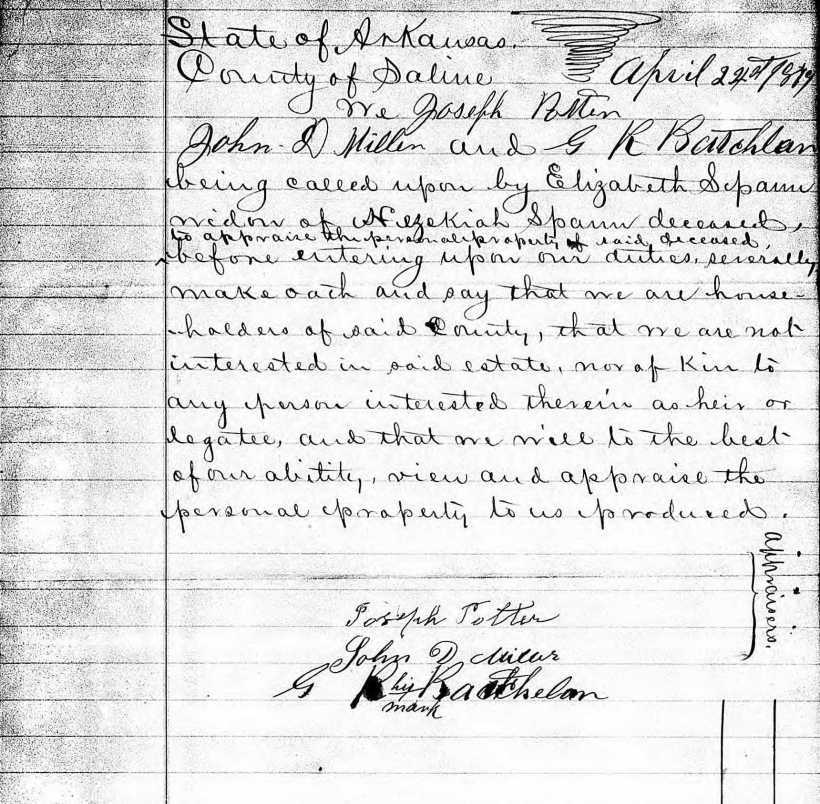 Hezekiah M. Spann Probate File, Saline Co., AR, Bond of Widow Elizabeth, April 1879