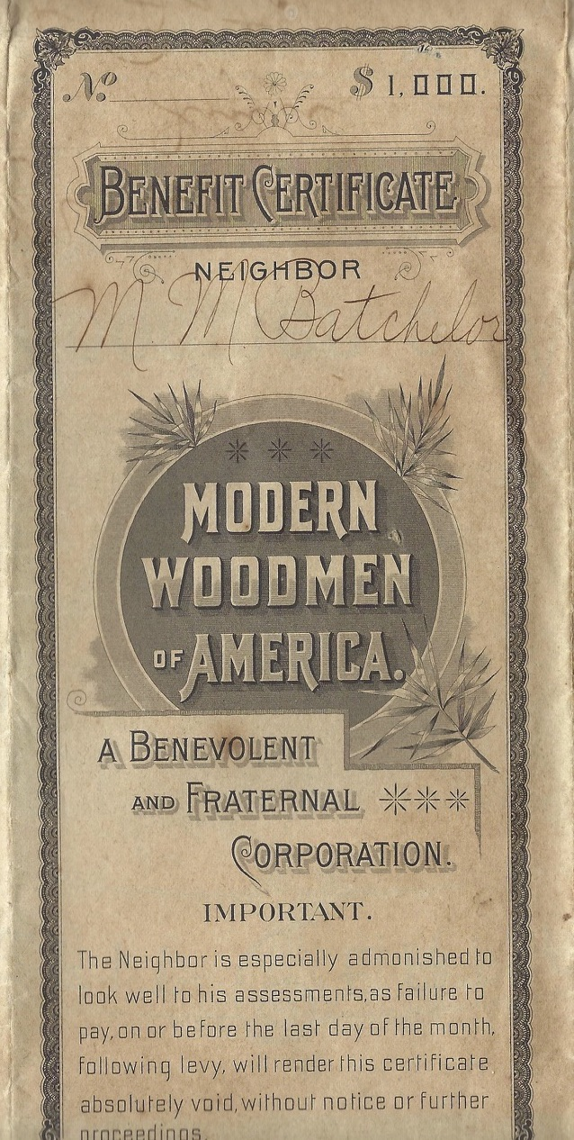 Marion Monroe Batchelor, Woodmen of the World Insurance Application