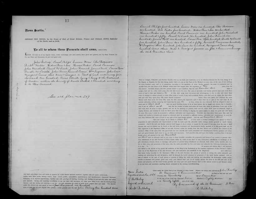 Nova Scotia Crown Register Land Grants vol. 19, 13