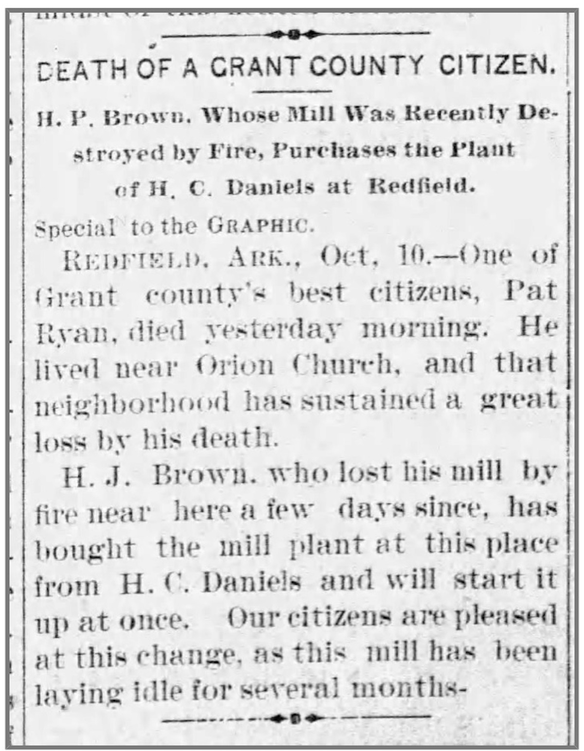 Ryan, Patrick Death, 19 Oct 1893, Pine Bluff Daily Graphic, p. 1, col. 3