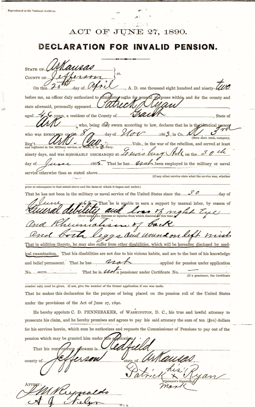 Ryan, Patrick, Invalid Declaration, Union Pension File, 20 April 1892