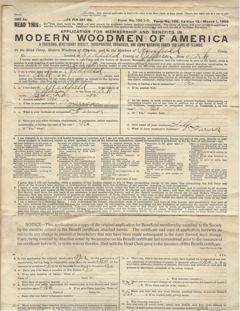 Woodmen of the World Application 1