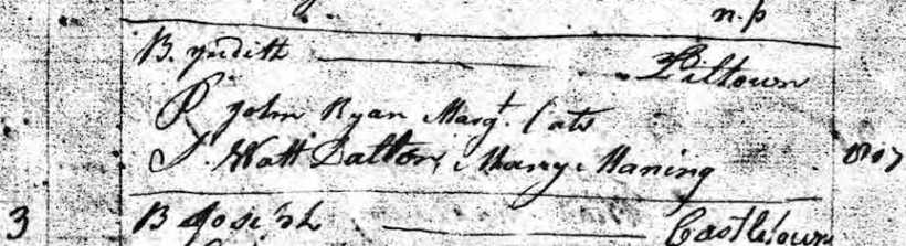 Judith Ryan Baptism, Templeorum, 3 August 1806
