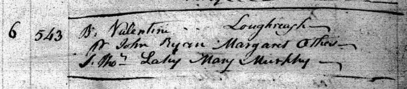 Valentine Ryan Baptism, Templeorum Parish, 6 May 1805