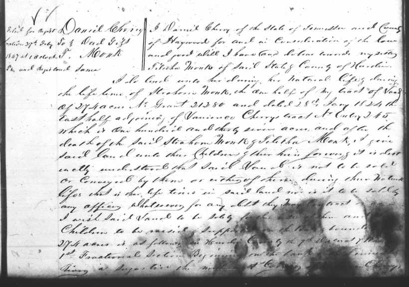 Cherry, Daniel, 25 Sept 1837, Hardin TN DB H, 13