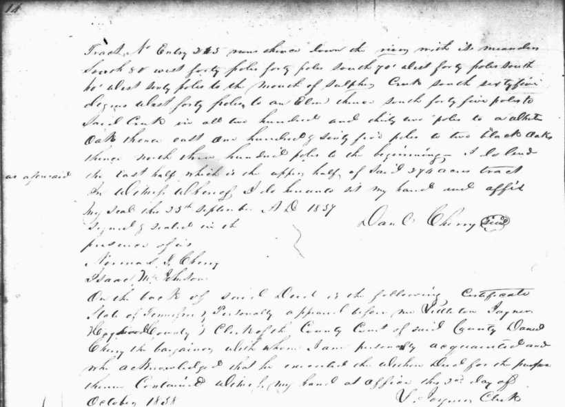 Cherry, Daniel, 25 Sept 1837, Hardin TN DB H, 14 (2)