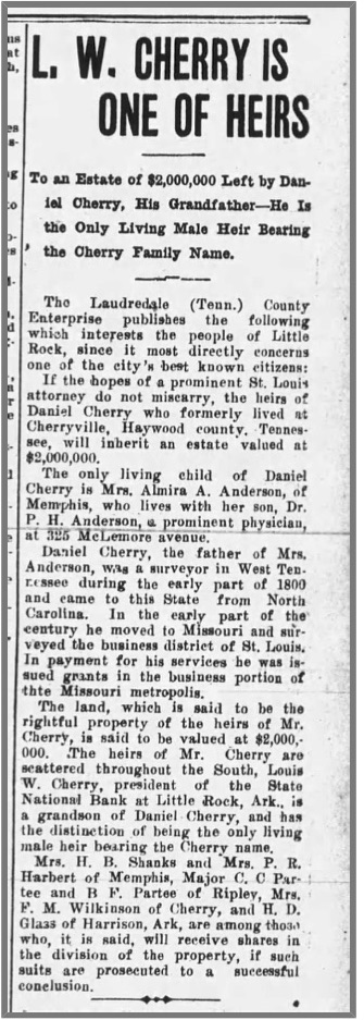 Cherry, Daniel, AR Democrat, 15 July 1907