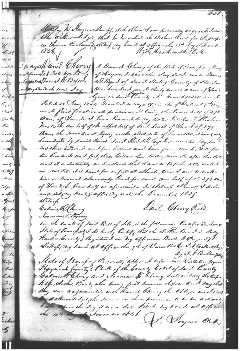 Cherry, Daniel to Thomas W. Byrd, Dec 1837, Hardin DB G p451