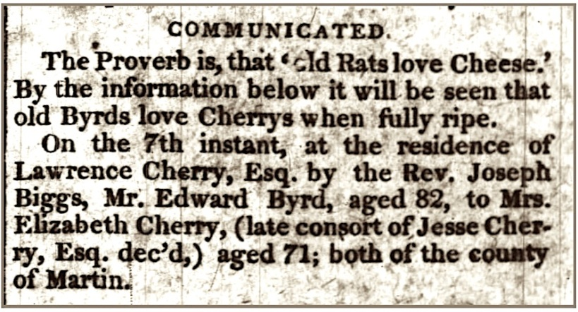 Cherry, Elizabeth Marriage to Edward Byrd, Raleigh Register, 22 Feb 1822, p. 3, col. 5