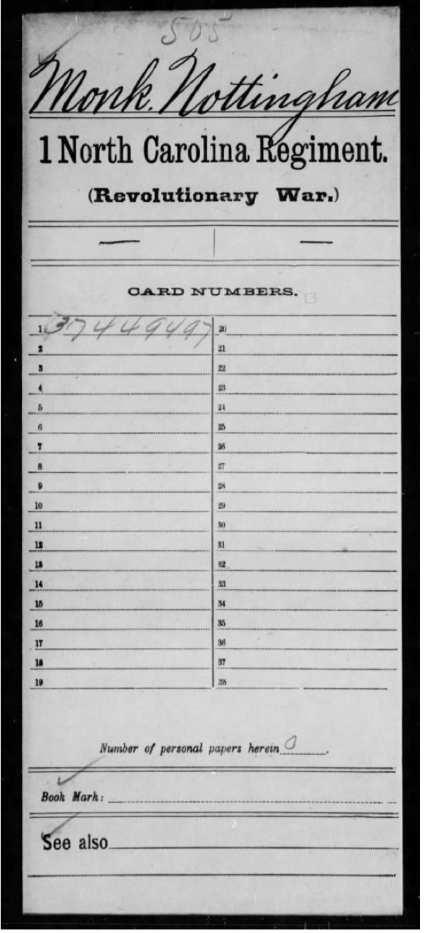 Monk, Nottingham, Compiled Service Records of Soldiers Who Served in the American Army During the Revolutionary War, M881, RG 92, roll 781 (1)