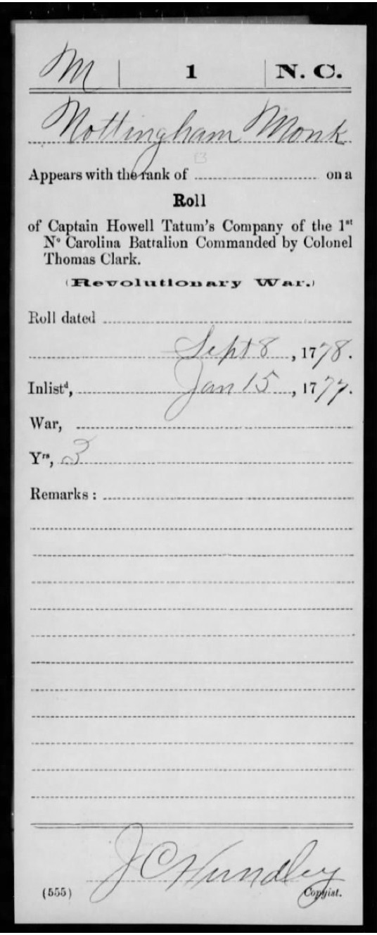 Monk, Nottingham, Compiled Service Records of Soldiers Who Served in the American Army During the Revolutionary War, M881, RG 92, roll 781 (2)