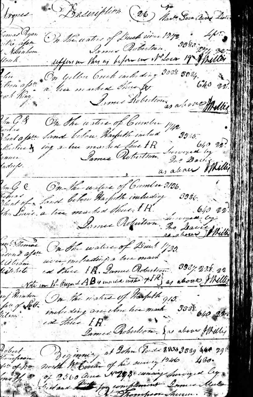Monk, Nottingham, TN Early Land Registers Series 2, Entries, 1787-1792