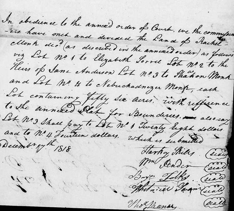 Strachan, Rachel Monk, 17 Dec. 1818 Land Division, Estate File (1)