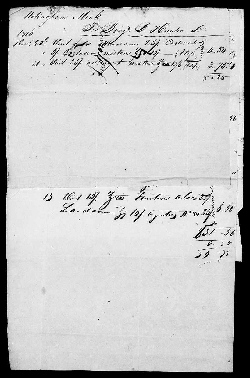Monk, Nottingham Receipt to Dr. Hunter