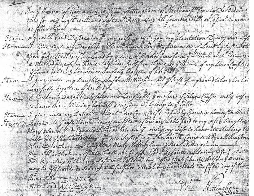 Nottingham, William Will, 5 Nov 1718 (1)