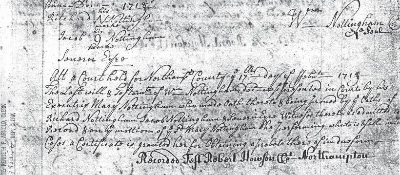 Nottingham, William Will, 5 Nov 1718 (2)