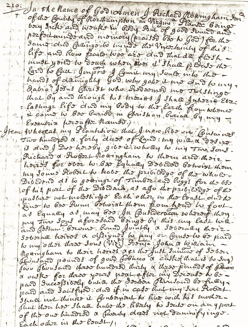 Nottingham, Richard, Will, Northampton Co., VA, Orders and Wills 13, 1689-98, p. 210 (1)