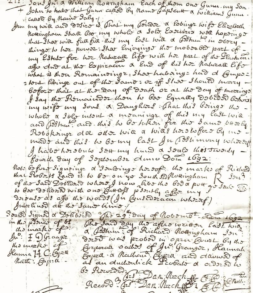 Nottingham, Richard, Will, Northampton Co., VA, Orders and Wills 13, 1689-98, p. 211
