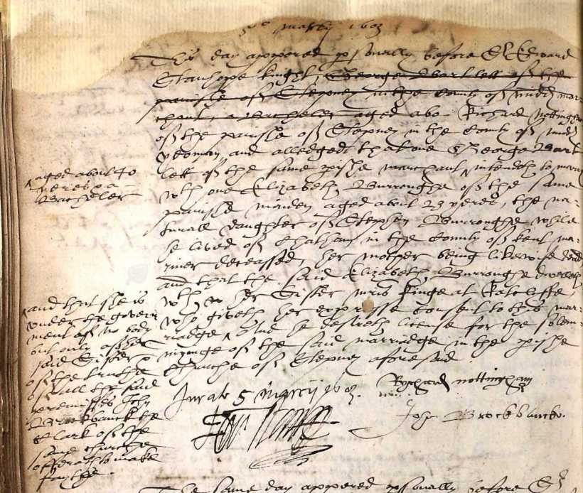 Nottingham, Richard, Marriage of George Bartlett to Eliz. Burroughes, 5 March 1603, Stepney