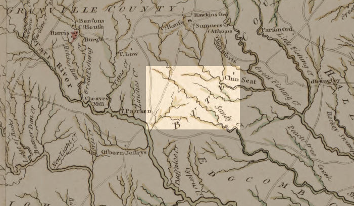 Detail from Compleat map of North Carolina, 1770, showing Sandy Creek