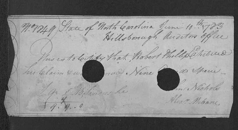 Phillips, Robert Rev. Pay Voucher 1783