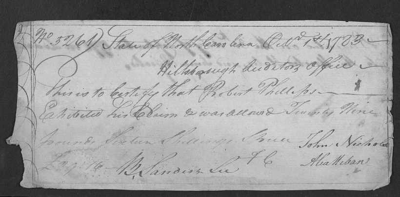 Phillips, Robert, Rev. War Pay Voucher 1783 (2)