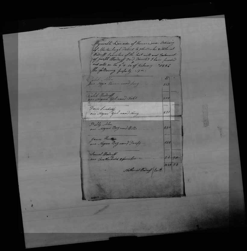 10 January 1826 Bill of Sale, Estate File of Joseph Woodruff, Spartanburg County, South Carolina, Estate File 2278