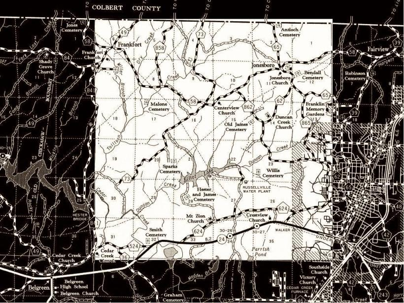 Franklin County, Alabama, T6 R 12W Map