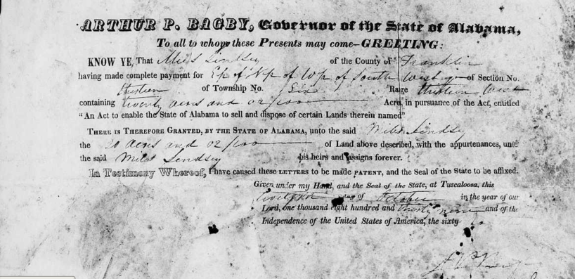 Lindsey, Miles, Patent, Franklin Co., AL, 12 Oct 1839, AL Land Office Records from AL Archives, LDS Film 1769330