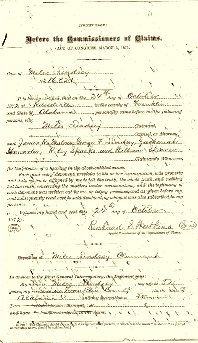 Lindsey, Miles R., 24 October 1872, Southern Claims Commission File, File 16521