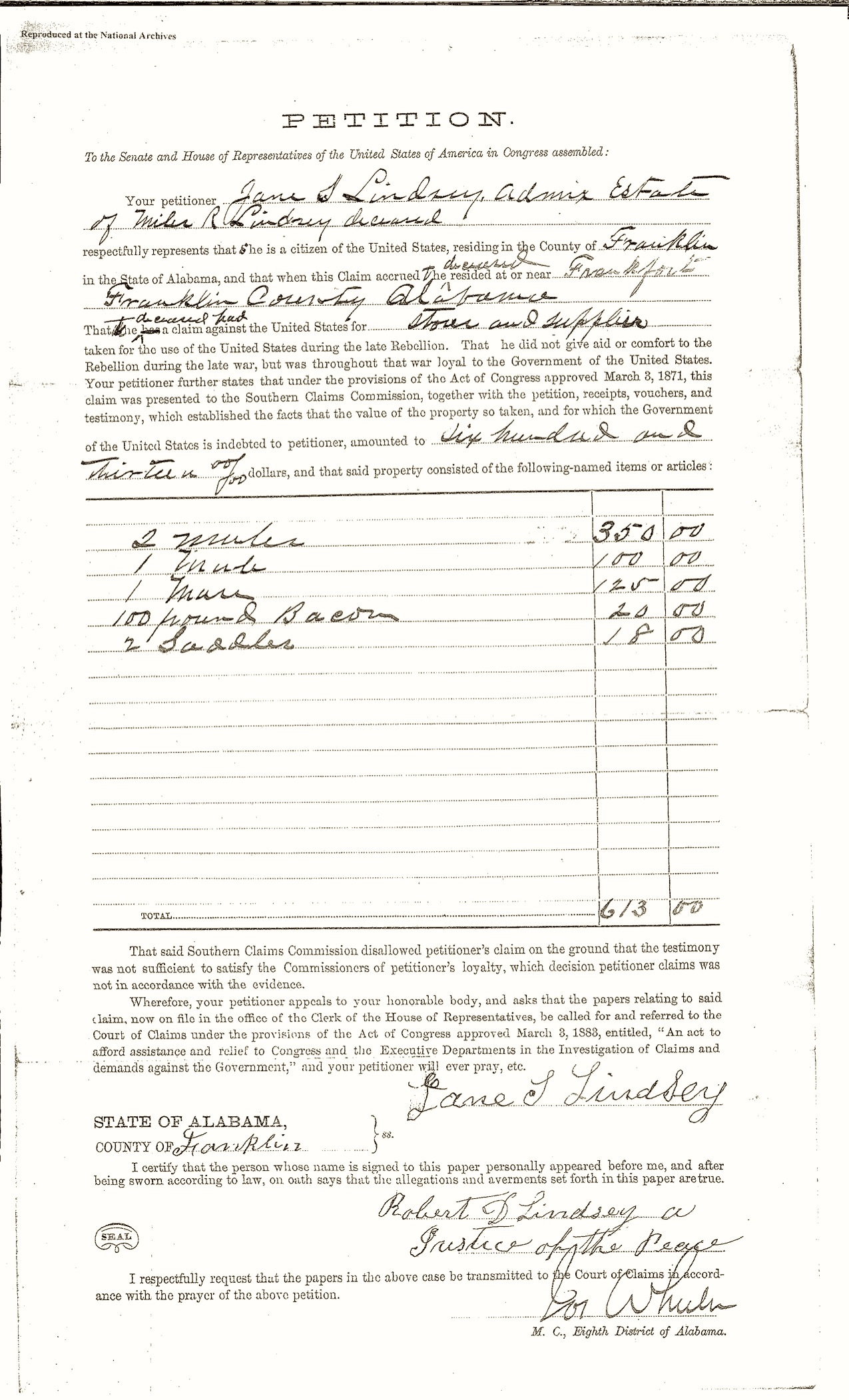 Lindsey, Miles R., Southern Claims Commission File, Jane's Petition