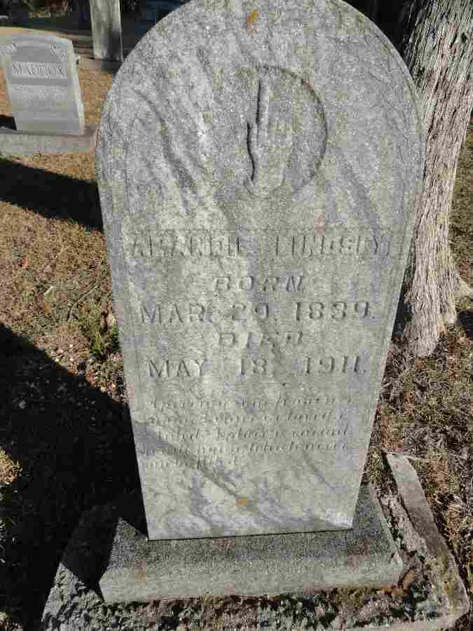 Lindsey, Amanda Tombstone, Crooked Oak Cem., Colbert Co., AL