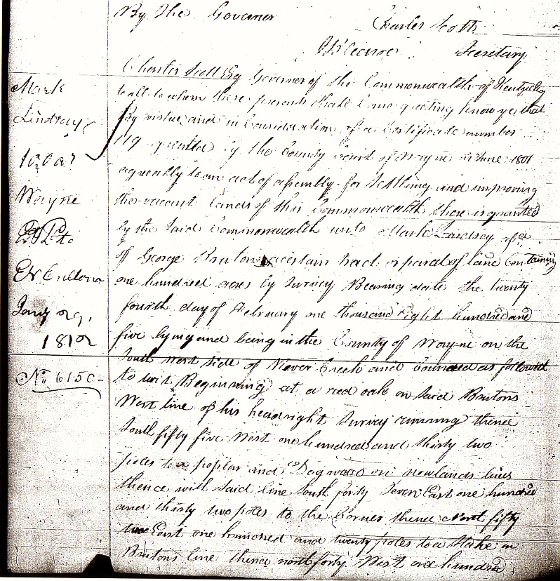 Lindsey, Mark, 1811 KY Land Grant Bk 10 p. 214 bottom