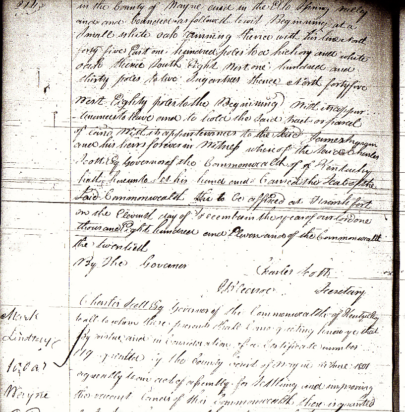 Lindsey, Mark, 1811 KY Land Grant Bk 10 p. 214 top