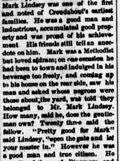Mark Lindsey, Alabama Enquirer (Hartselle) (17 October 1889), p. 3, col. 4 (1)