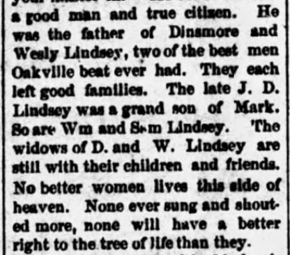 Mark Lindsey, Alabama Enquirer (Hartselle) (17 October 1889), p. 3, col. 4 (2)