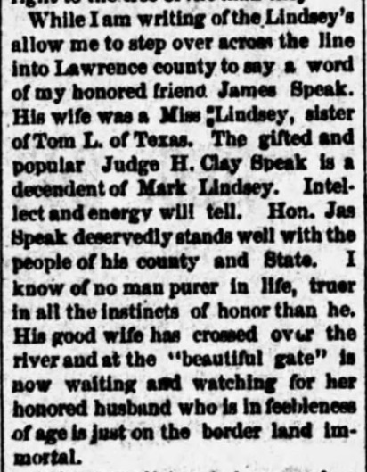 Mark Lindsey, Alabama Enquirer (Hartselle) (17 October 1889), p. 3, col. 4 (3)