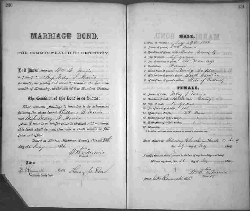 Marriage Bond William B. Morris Hickman Co. KY 1866