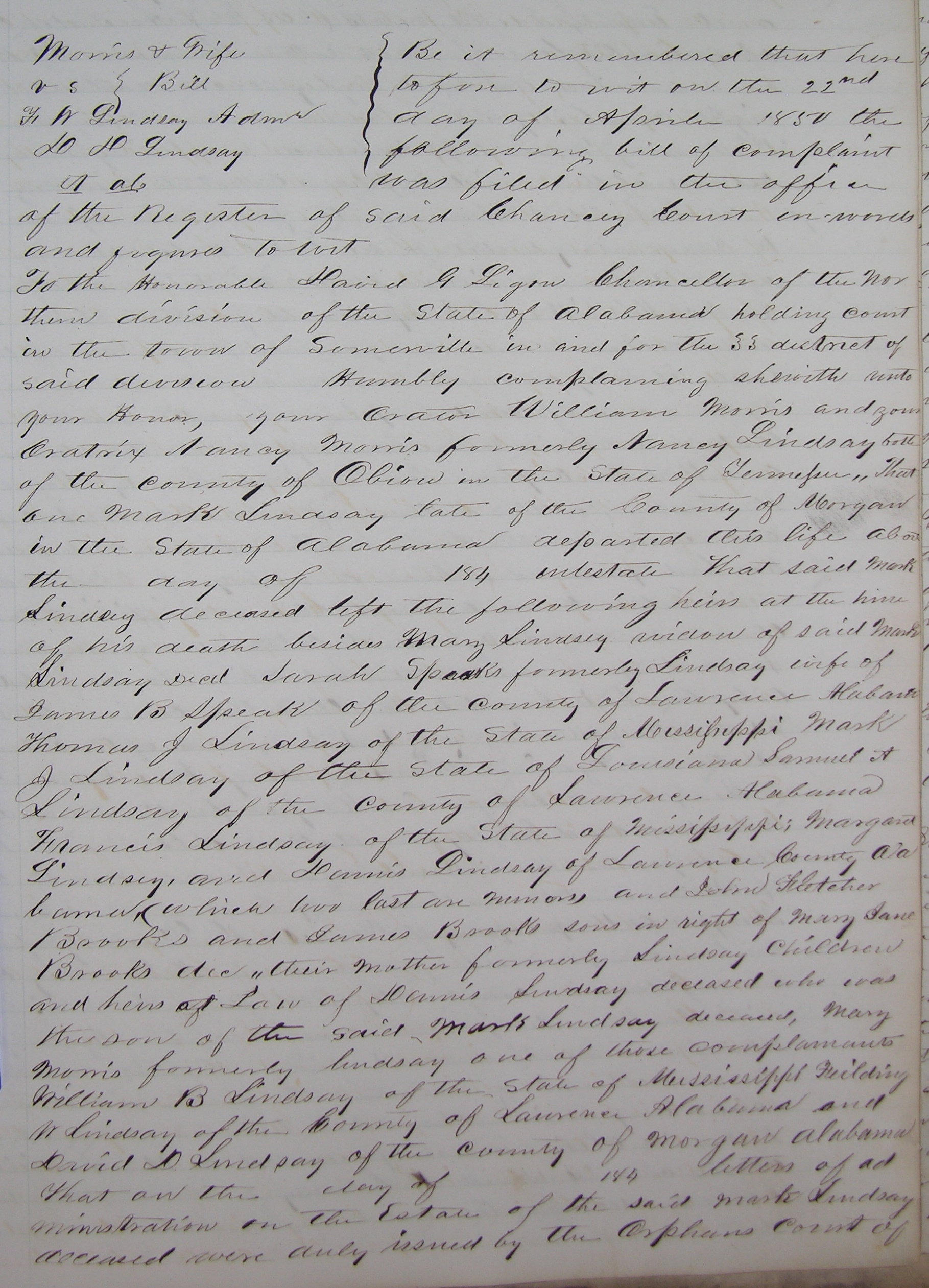 Morgan County, Alabama, Chancery Court Minutes, Bk. 1843-1855, p. 530