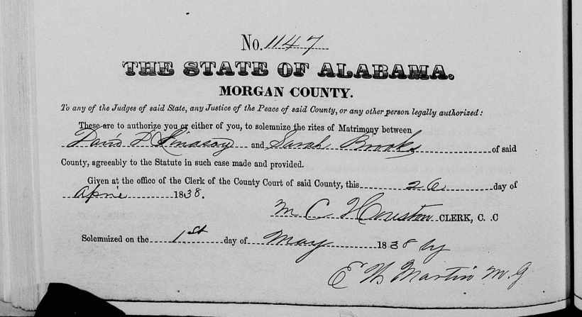 Lindsey, David D. Marriage to Sarah Brooks, Morgan AL Marriage Bk.1, 338