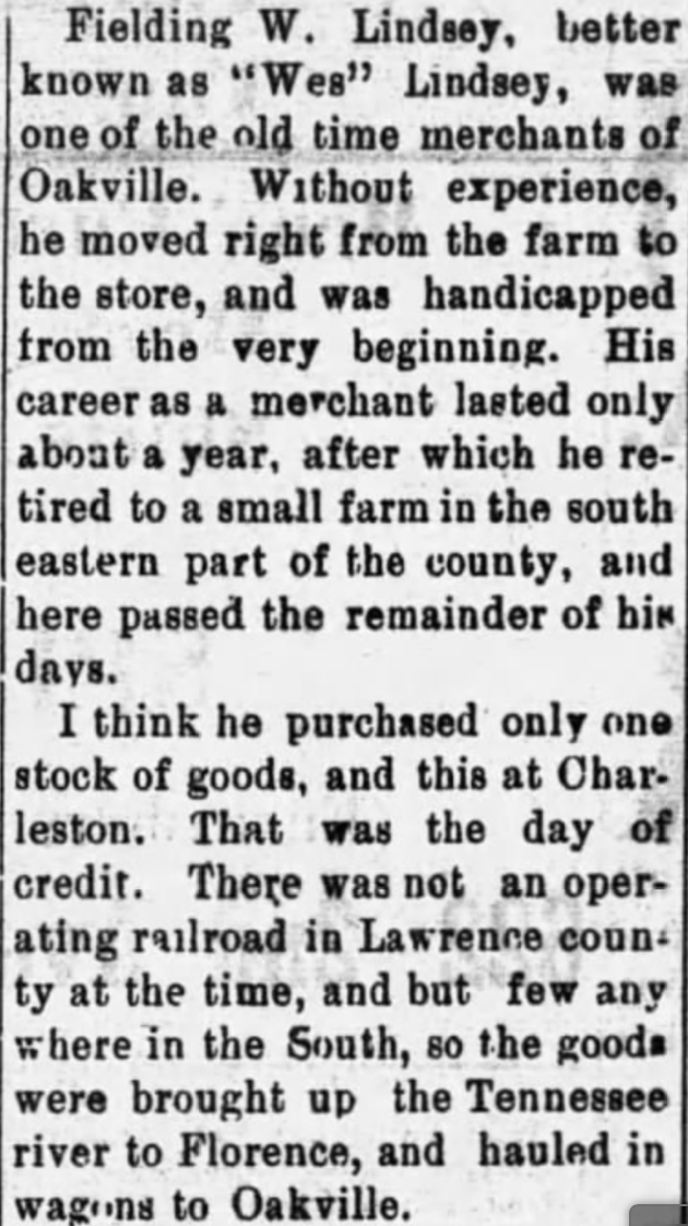 Lindsey, Fielding W., Barbee, Old Lawrence Reminiscent,Moulton Advertiser (20 April 1909), p. 1, col. 2-4 (1)