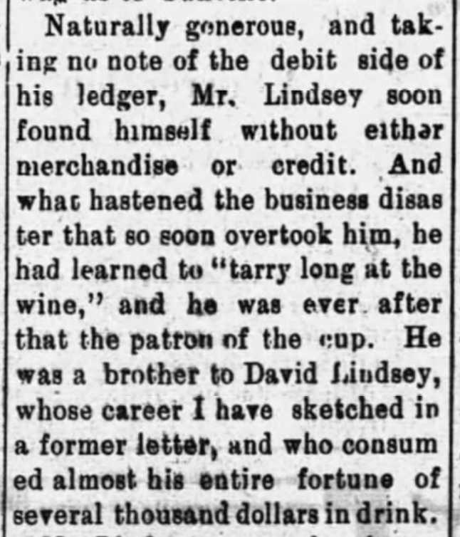Lindsey, Fielding W., Barbee, Old Lawrence Reminiscent,Moulton Advertiser (20 April 1909), p. 1, col. 2-4 (2)