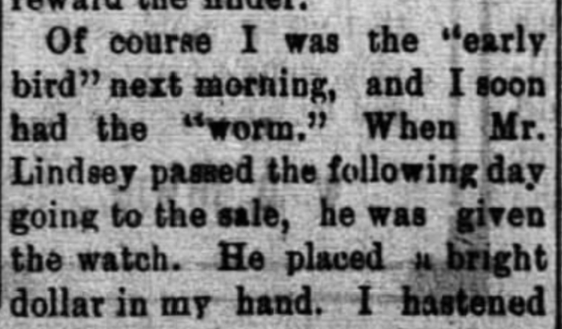 Lindsey, Fielding W., Barbee, Old Lawrence Reminiscent,Moulton Advertiser (20 April 1909), p. 1, col. 2-4 (4)