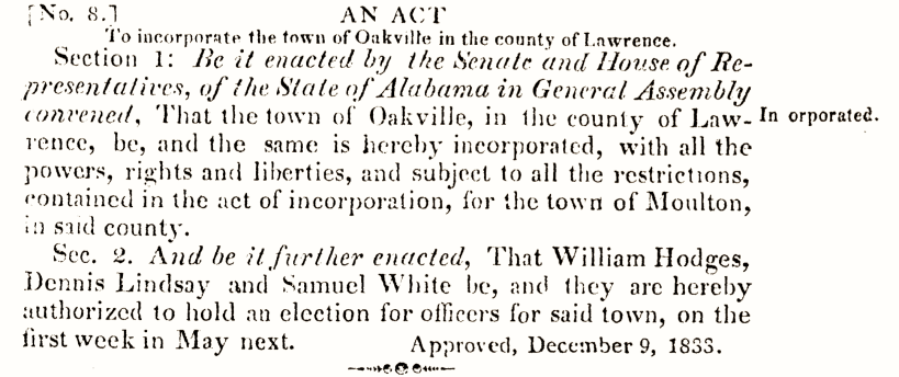 Oakville Incorporation, Alabama Legislature, Acts 1833, #8, p. 57