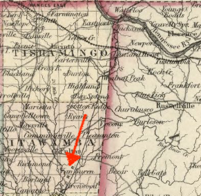 Detail from Colton's 1855 Map of Mississippi