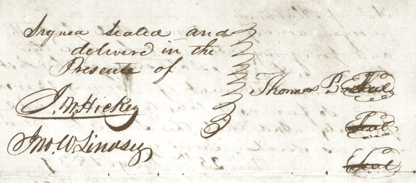 Lindsey, John W., Signature to Original Will of Thomas Brooks